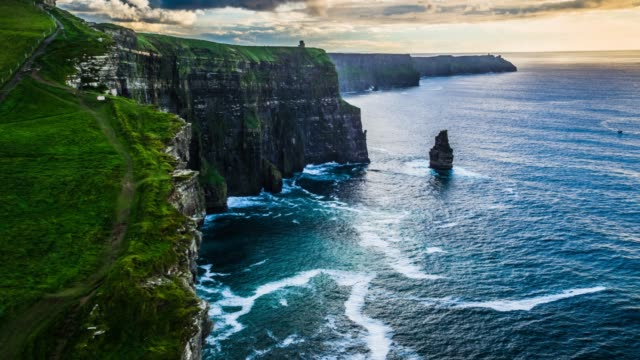aerial: scenic view of cliffs of moher - cliffs stock videos & royalty-free footage