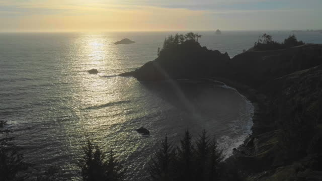 Aerial scenic view of the rocky Oregon coast nearby Brookings, USA West coast. Drone video with the static camera.