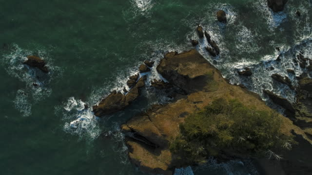 Aerial scenic view of the rocky Oregon coast nearby Brookings, USA West coast. Looking down, directly-above drone video with the static camera.