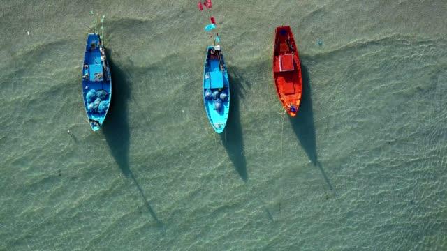 Aerial seascape of Kon Aow fisheries  Village near Khao Laem Ya, Rayong, Thailand video