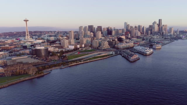 Aerial Seattle Washington Pull Away From Downtown Waterfront at Dusk video