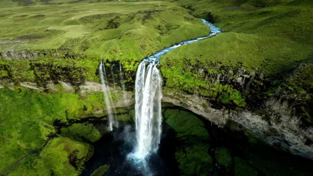 Aerial Seljalandsfoss Waterfall, Iceland video