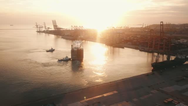 aerial shipping container ports - rimorchiatore video stock e b–roll