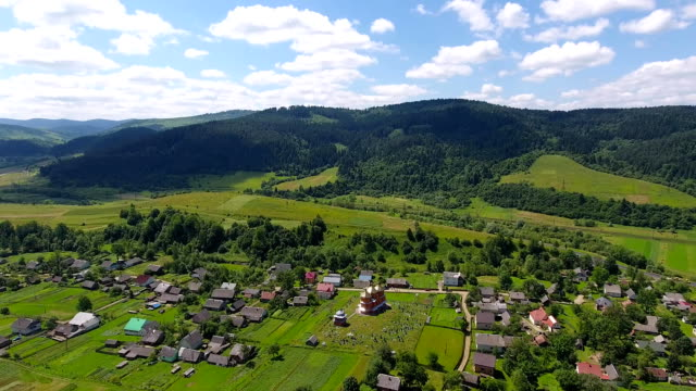 Aerial shoot of the houses and the vilage. Aerial fly over shoot of the village on the countryside in Ukraine video