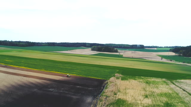vidéos et rushes de pousse aérienne de tracteur travaillant sur les belles terres agricoles. - seigle grain