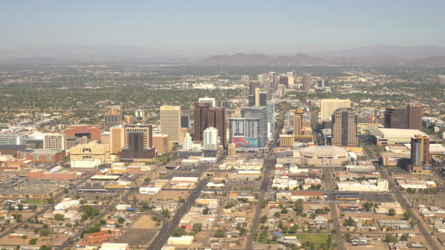 Aerial shot above Phoenix in 4k video