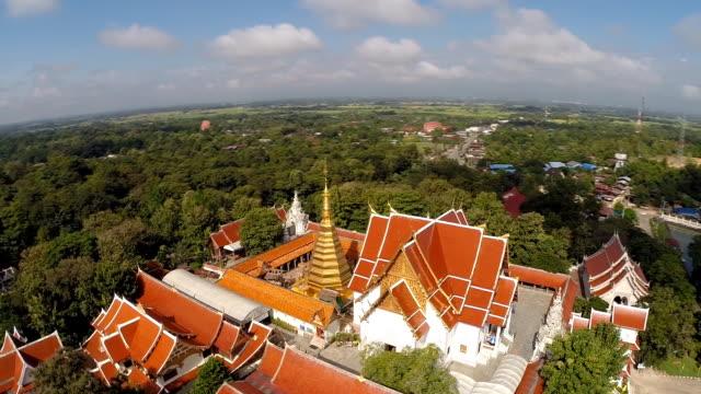 Aerial Shot at Wat Pra that cho hae Temple Thailand video