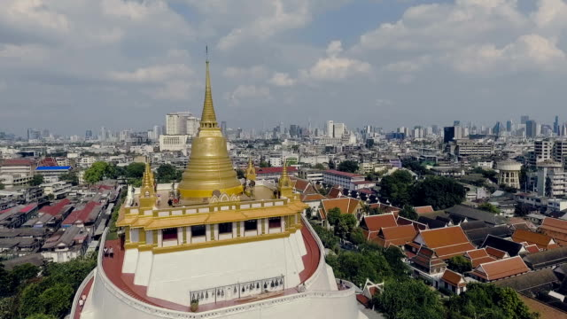 Aerial shot : Bangkok CityScape View From Wat Saket video