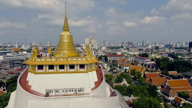 Aerial shot : Bangkok CityScape View From Wat Saket video