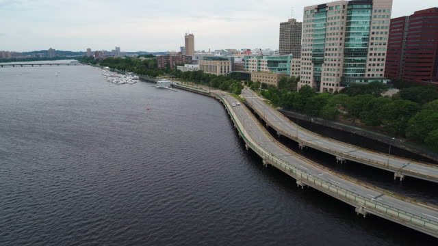 Aerial shot Boston Memorial Drive and Charles River video