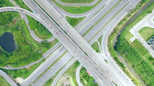 Aerial shot busy freeway in Bangkok Thailand video