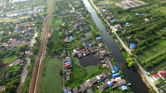 Aerial Shot countryside on water video