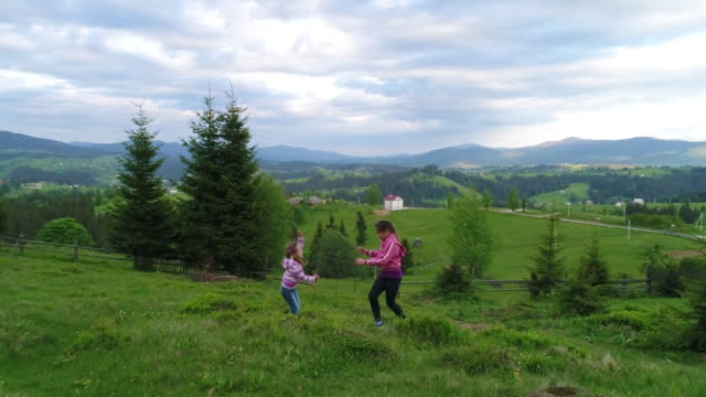 Aerial shot, family walking along, spring day in forest video