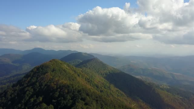 Aerial shot flight above the mountain forest in Black Sea region of Turkey.