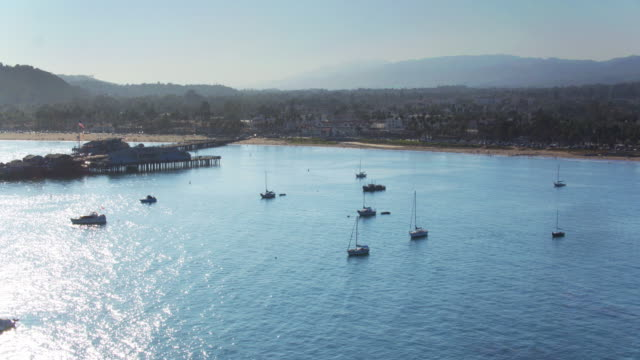 Aerial Shot Flying Out Over Boats on the Sea by Santa Barbara, California video