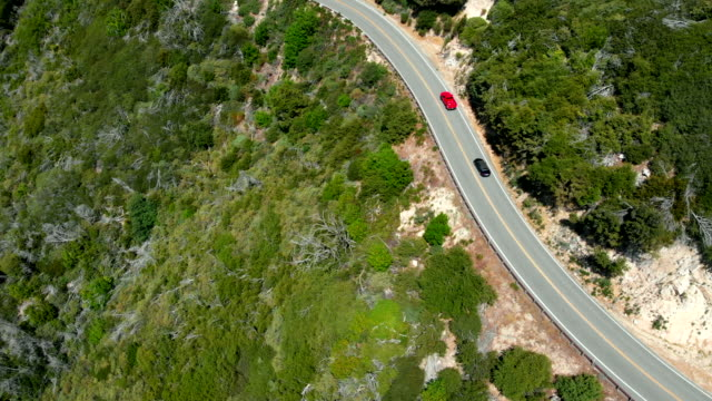 Aerial Shot Following Cars and Panning Up on the Side of a Mountain near Lake Arrowhead, California video