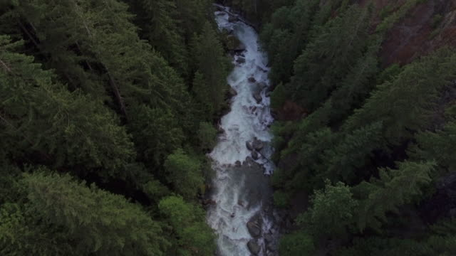 Aerial Shot Following Nooksack River in Whatcom County, Washington video