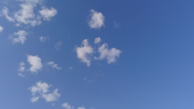 aerial shot - greek blue sky with small white clouds video