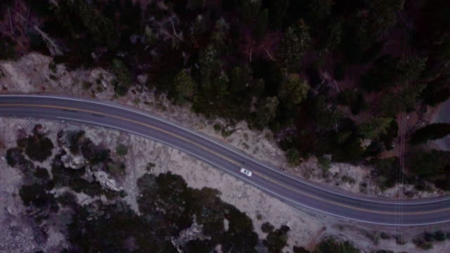 Aerial Shot Looking Straight Down at Mountain Highway video