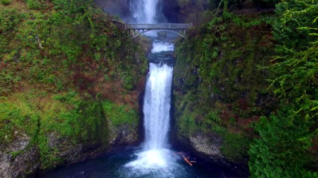 Aerial shot Multnomah Falls Oregon