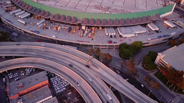 Aerial Shot of 10/110 Interchange, Los Angeles at Sunset video
