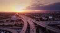 istock Aerial Shot of 10/110 Interchange, Los Angeles at Sunset 858021276