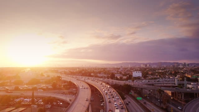 Aerial Shot of 10/110 Interchange, Los Angeles at Sunset video