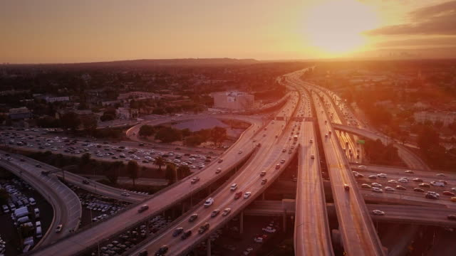 Aerial Shot of 10/110 Interchange, Los Angeles at Sunset видео