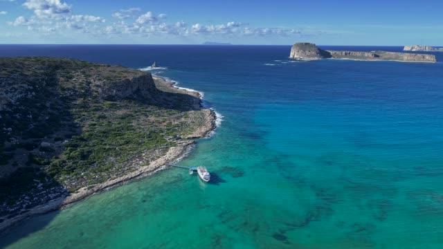 Aerial shot of a bright sunny day on a Mediterrenian coast of Crete island, Greece. 4K, UHD