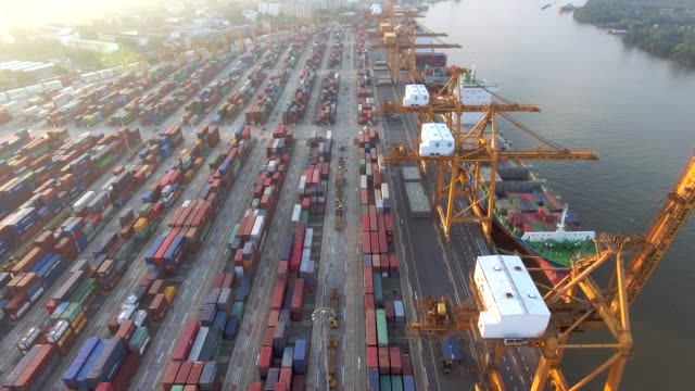aerial shot of a cargo container ship - globalization stock videos and b-roll footage