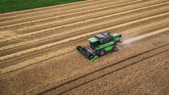 Aerial Shot Of A Combine Harvester video