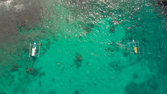 Aerial shot of a diving spot with a lot of diving and snorkeling people in a turqouse clear water. Underwater sport concept
