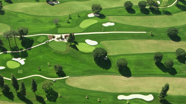 Aerial shot of a golf course video