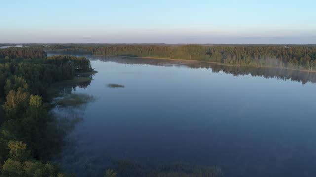 vídeos de stock e filmes b-roll de aerial shot of a lake in a forest - letónia