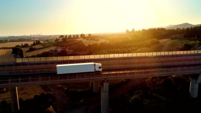 貨物負荷移動する農村地域にそれ上のトラフィックの大規模な橋の上の白いトラックの空中ショットは。背景の美しい風光明媚な自然。 - トラック点の映像素材/bロール