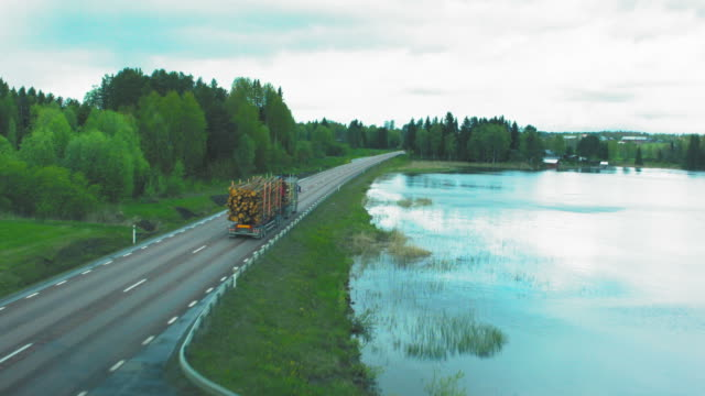 Aerial shot of a wood transporter road, lake, scenic, nature, travel, mountains, water, landscape, drive, roads, tourism, hill, highway, asphalt, mountain, blue, green, Blackmagic Pocket Camera, Drone, Aerial, epic, finland, norway, sweden, estonia, latvia, Lithuania, Poland, Europe, truck, wood, transport, timber, logging, industry, lumber, transportation, forestry, forest, trailer, logs, tree, lorry, equipment, environment, industrial, stack, pine, lumberjack, hauling timber stock videos & royalty-free footage