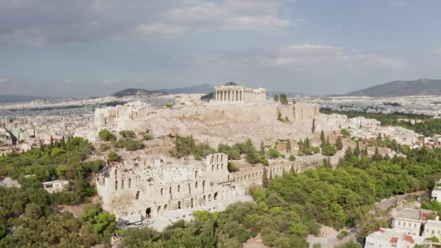 stockvideo's en b-roll-footage met luchtfoto van de akropolis - athens