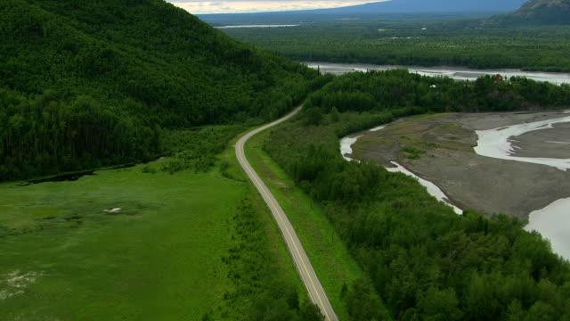 Aerial shot of Alaska nature and roadway video
