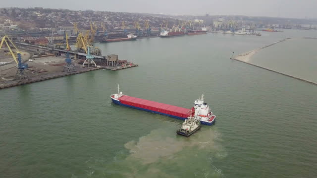 Aerial shot of big ship in sea video