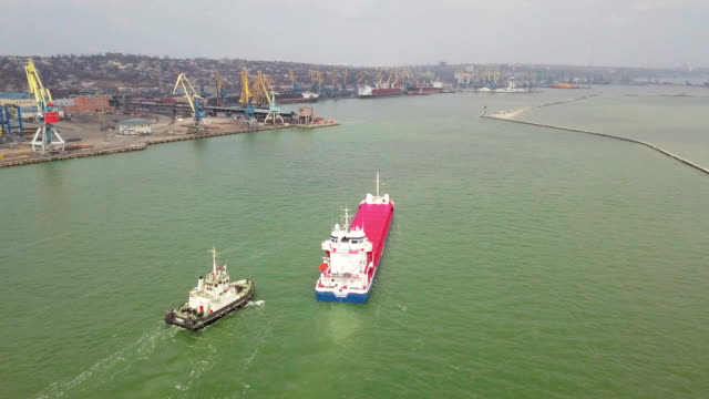 aerial shot of big ship in sea - port wine stock videos & royalty-free footage