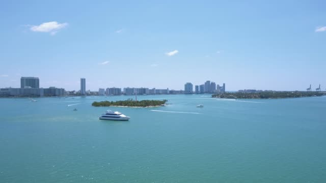 Aerial shot of boats and beautiful water in Miami Beach video