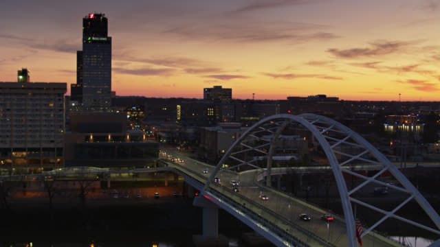 Aerial Shot of Broadway Bridge and Downtown Little Rock at Sunset video