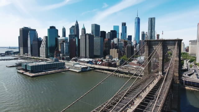 Aerial shot of Brooklyn Bridge and Financial District