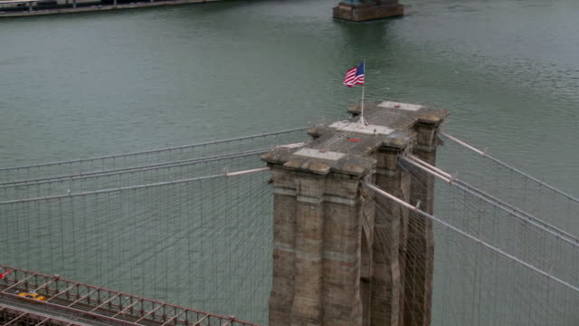 Aerial shot of Brooklyn Bridge, New York City video