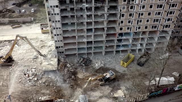 Aerial shot of Building demolition video