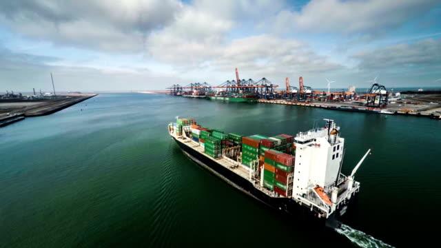 Aerial shot of cargo vessel video