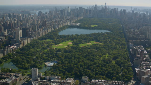 Aerial shot of Central Park, New York City HD 1080p: Aerial shot of Central Park, New York City.  central park manhattan stock videos & royalty-free footage