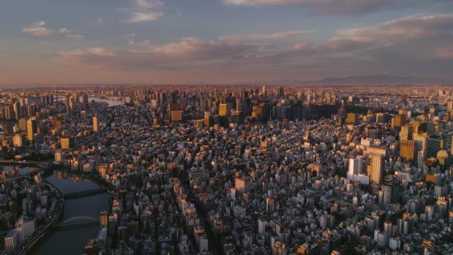 riprese aeree della città centrale di tokyo con la montagna fuji, giappone - cittadina video stock e b–roll