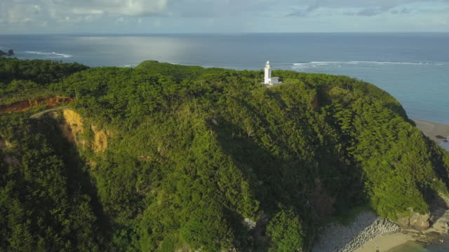 Aerial shot of coastline and lighthouse.