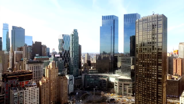Aerial shot of Columbus Circle, NYC video